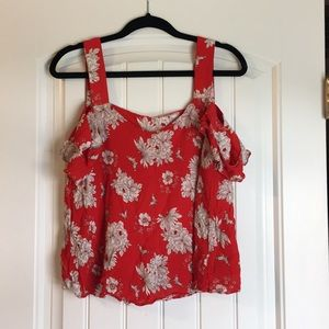 Red and whit floral pattern off the shoulder tank